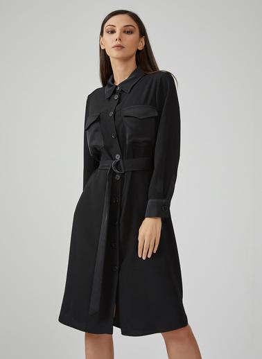 Gusto Kadın Siyah Cep Kapaklı Kolları Manşetli Elbise 20KG009311 Siyah